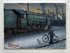 "Northern artista James Downie pintura al óleo originales ""carril chat 'Ardwick trenes"