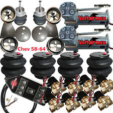 "Air Suspension Kit 3/8"" Valve 7 Switch DC480 Compressor 1958-64 Chevy Impala"