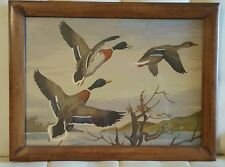 Vintage Paint By Number painting Ducks Mallards Hunting Scene Cabin Lodge Decor