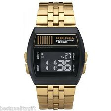 NEW-DIESEL GOLD TONE S/STEEL BAND+BLACK DIGITAL DIAL+CHRONO,LIGHT WATCH DZ7195