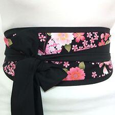 Mariposa flor de cerezo japonés geisha Obi Cinturón de tela estilo banda en la cintura Corbata