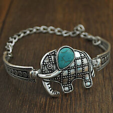 New Arrival Thai Totem Girl Lovely Cute Turquoise Elephant Bangle Retro Bracelet