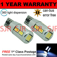 2X W5W T10 501 CANBUS ERROR FREE WHITE 10 SMD LED SIDELIGHT BULBS SL104105
