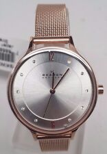 Skagen SKW2151 Women's Anita Silver Dial Rose Gold Tone Mesh Band 3-Hand Watch