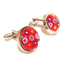 Red Murano Millefiori Round Glass & Silver Chunky Inlay Cufflinks.