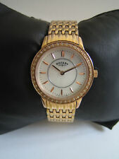 ROTARY WOMEN'S WATCH STAINLESS STEEL ROSE GOLD LB00244/41 CRYSTAL SET GENUINE