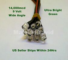 10pcs 5mm LEDS 9 VOLT Pre Wired ~WIDE BRIGHT GREEN~ 9V HEAVY DUTY FLAT TOP LIGHT