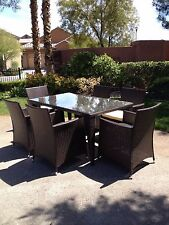 7 PC Modern Outdoor All Weather Wicker Rattan Table Patio Set Furniture Dining