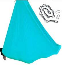 Blue Nylon Tricot Aerial Yoga Swing Hammock Silk COMPLETE SET for Inversion Yoga