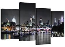 CANVAS Wall Art Of London Skyline per il vostro salotto - 4 PANEL-FIUME - 4211