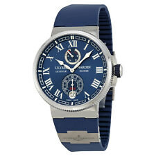 Ulysse Nardin Marine Chronometer Blue Dial Blue Rubber Mens Watch 1183-126-3-43
