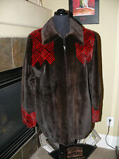 SALE! Gorgeous Zuki Style Sheared Mink Fur Coat Jacket Red & Brown Design
