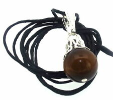 12mm Tigers Eye Sphere Gemstone Crystal Pendant