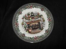 ROYAL STAFFORD CHRISTMAS HOME FIREPLACE SALAD PLATES - 4 - NEW - MADE IN ENGLAND