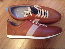 New Mens ��Clarks ��UK Size 6 Tan Navy Soft Leather Trainers Sports Shoes 40EU