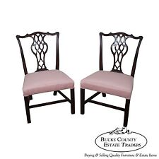 Schmieg & Kotzian Antique Pair of Chippendale Style Side Dining Chairs