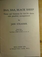 """Music Book """"BAA,BAA,Black Sheep for voice and piano.Mills Music."""