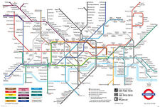 London Underground Map Poster! England United Kingdom Urban Zone Never Hung