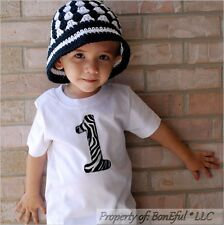 BonEful RTS NEW Baby 12 18 Month T-Shirt Top Girl Boy Zebra #1 Applique Birthday