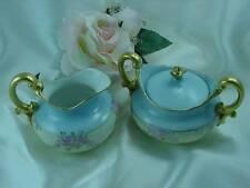 Antique Tressemann & Vogt Limoges Creamer & Sugar Bowl Pink Roses Gold Gilded