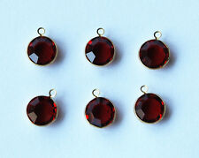 VINTAGE 6 RUBY RED MACHINE CUT GLASS DANGLE DROP PENDANT CHANNEL SET BEADS 10mm