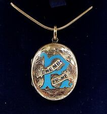 Antique Victorian 9ct Gold Engraved Remember Me Enamel Photo Locket Necklace
