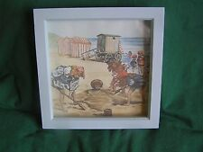 Hand Made Picture  - Vintage Laura Ashley Border Blue Bathing Hut