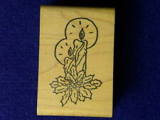 Candles Flames Holly Glowing Pine Bough Mantle Winter Stamp wood Rubber Stamp