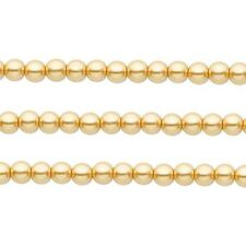 Round Glass Pearls Beads. Gold 4mm 16 Inch Strand