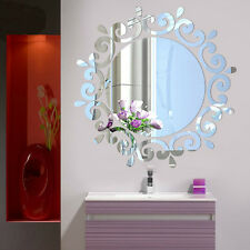 Mirror Floral Wall Stickers Art Decal Mural Removable Home Bathroom Decor