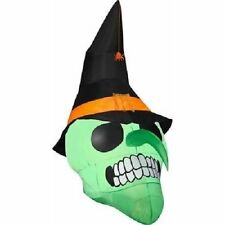 Gemmy Airblown 6' Green Witch Skull Halloween Decoration Inflatable