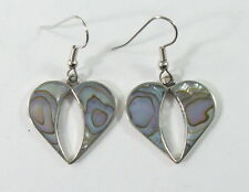 Alpaca silver heart earrings with shell inlay and surgical steel ear wires