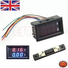 Dual LED Digital Voltmeter Ammeter Amp Volt Meter + Current Shunt DC 100V 50A