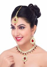 New Bollywood Indian Necklace Set With Matching Earrings And Tikka In Marron