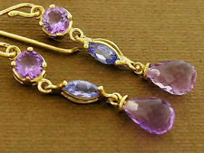 E060- Lovely 9ct SOLID Gold NATURAL Amethyst & Tanzanite Drop Earrings