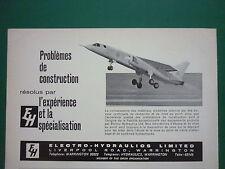 2/1965 PUB ELECTRO-HYDRAULICS WARRINGTON BAC TSR-2 AIRCRAFT ORIGINAL FRENCH AD