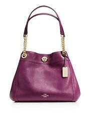 NWT IN PLASTIC  COACH EDIE TURNLOCK PLUM STUNNING IN PEBBLE LEATHER