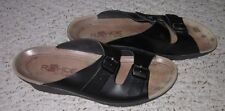Rohde Wms Black Leather Wedge Slides Sandals Sz 11 Eu 42 Made In Germany