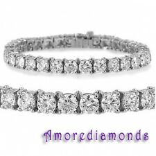 6 ct F VS2 round ideal cut diamond 4 prong tennis bracelet 14k white gold 7""