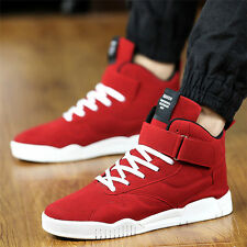 Fashion Men's Casual High Top Sport Sneakers Athletic Running Shoes Red Leather