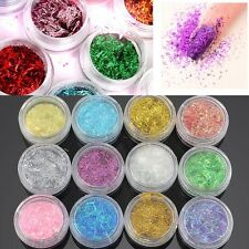 12xNeon Glitter Slice Spangles Acrylic Nail Art Giant Tips Dust Decorations Gift