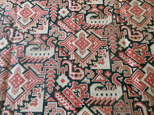 Antique French Kilim Pattern Cotton Fabric ~ Black Tan Old Red