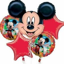 Disney Mickey Mouse Birthday Party Favor Supplies 5CT Foil Balloons Bouquet