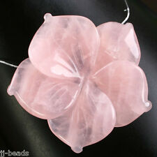 Natural Rose Quartz Stone Carve Flower Healing Bead Pendant For Necklace Women