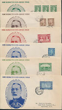 1935 #211-216 George V Silver Jubilee Set of 6 FDCs, Nelson Cachets