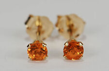 PETITE NATURAL MINED MANDARIN GARNET EARRINGS~14 KT YELLOW GOLD~3MM
