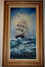 Violet Parkhurst Tall Ship in Rough Waters Oil Canvas Painting Framed
