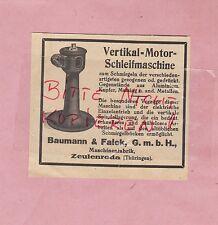 ZEULENRODA, Werbung 1927, Baumann & Falck GmbH Maschinen-Fabrik Vertikal-Motor-