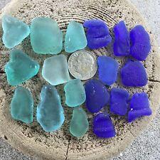 Genuine Surf Tumbled Sea glass beach glass aqua & cobalt damage/rough