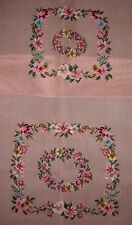 EP 28000 Vintage Floral Rose 2pc Chair Seat Set Preworked Needlepoint Canvas